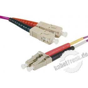 LWL Patchkabel HD, 50/125 μm, OM4-Faser, SC Duplex Stecker/LC Duplex Stecker, erika-violet, 1,0 m UPC UPC-Schliff