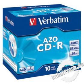 Verbatim 'AZO' CD-R 80, 700 MB, 52x, 10er Pack, Jewel Case