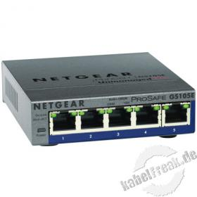Netgear Gigabit Switch GS105E, 5 Port, Desktop Konfigurierbarer Switch zum Anschluss von bis zu 5 PCs an ein Gigabit Ethernet Netzwerk