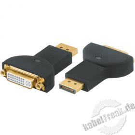 DisplayPort / DVI Adapter, 20pol DisplayPort St. / 24+1pol DVI-D Bu., vergoldet Adapter zum Anschluss von Monitoren mit DVI-Anschluss an Computer mit Displayport-Ausgang