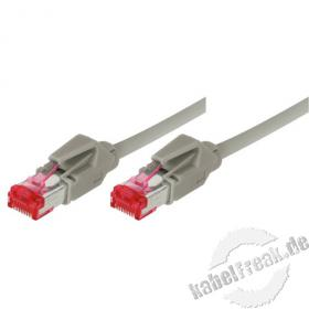 Patchkabel S/FTP, PiMF, CAT.6A EIA/TIA, Class EA, grau, 25,0 m Premium Patchkabel, Leoni CAT.7 Rohkabel, Hirose TM21 Stecker, halogenfrei