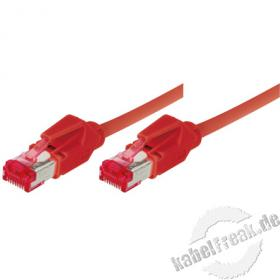 Patchkabel S/FTP, PiMF, CAT.6A EIA/TIA, Class EA, rot, 5,0 m Premium Patchkabel, Leoni CAT.7 Rohkabel, Hirose TM21 Stecker, halogenfrei