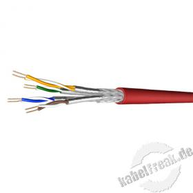Draka Industrie-Patchkabel UC900 SS27 PUR, Cat.7, S/FTP, PiMF, rot, 100 m Ring Ölbeständiges Spezialkabel für Industrie-Einsatz, paarweise und gesamtgeschirmtes Patchkabel