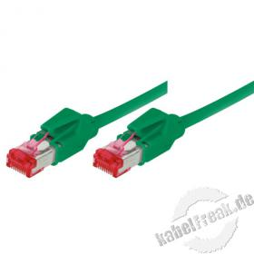 Patchkabel S/FTP, PiMF, CAT.6A EIA/TIA, Class EA, grün, 5,0 m Premium Patchkabel, Leoni CAT.7 Rohkabel, Hirose TM21 Stecker, halogenfrei