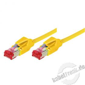Patchkabel S/FTP, PiMF, CAT.6A EIA/TIA, Class EA, gelb, 2,0 m Premium Patchkabel, Leoni CAT.7 Rohkabel, Hirose TM21 Stecker, halogenfrei
