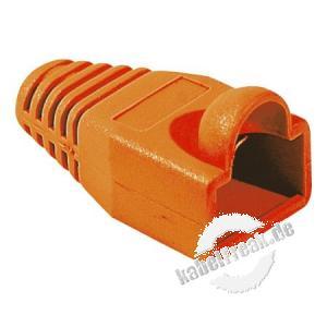 Knickschutztülle für Modularstecker RJ45, Rundkabel, orange, VPE 10 Stück Knickschutztülle mit Rastnasenschutz