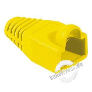 Knickschutztülle für Modularstecker RJ45, Rundkabel, gelb, VPE 10 Stück Knickschutztülle mit Rastnasenschutz
