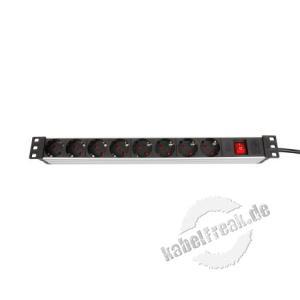 Dexlan 19' Steckdosenleiste 8-fach, mit Schalter, Anschlussleitung 2,5 m, schwarz / silber