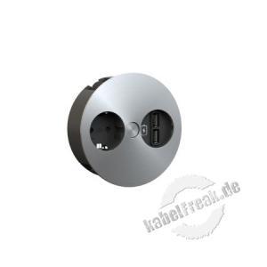 Bachmann TWIST 1 x Schutzkontaktsteckdose, 1 x USB-Doppelcharger  Steckdoseneinheit für Büro, Lounge und weitere, individuelle Einsatzbereiche