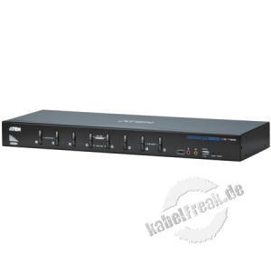ATEN DVI KVM Switch CS1788 mit Audio, USB, 8-fach, Desktop und 19' 8 PCs mit USB-Anschluss werden von 1 Arbeitsplatz (USB Tastatur, DVI oder VGA Monitor, USB Maus, 2x Lautsprecher, 2x Mikrofon, 2 Peripheriegeräte) gesteuert
