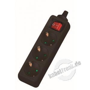 Dexlan Steckdosenleiste 3-fach, mit Schalter, Anschlussleitung 1,5 m, schwarz