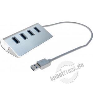 USB Hub, 4 Ports USB 3.0 Typ A, mit integriertem USB 3.0 Typ A Anschlusskabel Erweiterung eines Computers um 4 USB 3.0 Ports