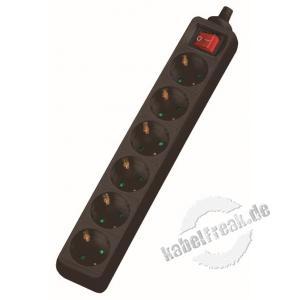 Dexlan Steckdosenleiste 6-fach, mit Schalter, Anschlussleitung 1,5 m, schwarz