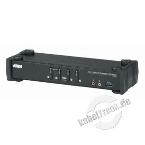 ATEN CS1924 4-Port USB 3.0 4K DisplayPort KVMP Switch, CS1924 mit Audio, USB, Desktop Mehrere Pcs mit USB-Anschluss werden von 1 Arbeitsplatz (USB Tastatur, 1 x Displayport Monitor, USB Maus, Lautsprecher, Mikrofon, Peripheriegerät) gesteuert