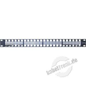 Dexlan Modulträger für 48 Keystone-Anschlussbuchsen, 19', schwarz RAL 9005 Zum Aufbau eines Patchfeldes mit bis zu 48 Ports