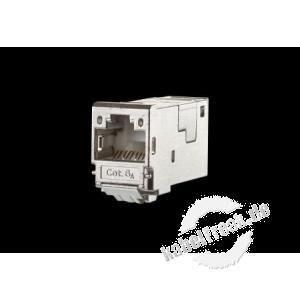 MetzConnect E-DAT modul Cat.6A 8(8) Buchse, T568B, Anschlussbuchse Zum Einbau in Modulträger oder Aufputzgehäuse