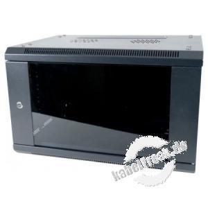 Dexlan 19' Wandgehäuse 1-teilig, 6 HE, 600 x 450 mm, RAL9005 schwarz - FLATPACK preisgünstiges Wandgehäuse mit Sicherheitsglastür