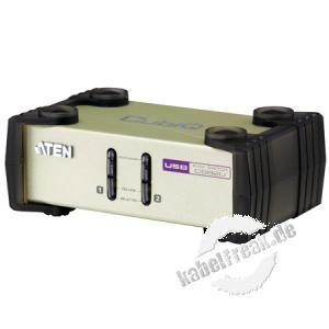 ATEN KVM Switch CS82U, PS/2 und USB, 2-fach, Desktop, mit Anschlusskabeln Mehrere Pcs mit USB- oder PS/2-Anschluss werden von 1 Arbeitsplatz ( USB oder PS/2 Tastatur, Monitor, USB oder PS/2 Maus) gesteuert
