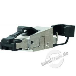 MetzConnect Modularstecker RJ45, feldkonfektionierbar, Cat.6A ISO/IEC, Kabelabgang gerade Ohne Spezialwerkzeug konfektionierbarer Stecker für Patch- und Installationskabel