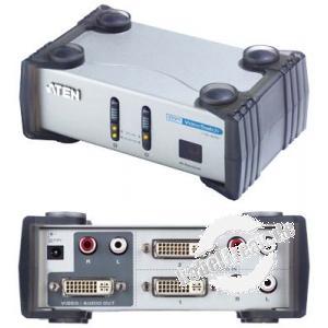ATEN DVI-Switch mit Audio, 2-fach Umschalter zum Anschluss von 2 PCs an einen Monitor