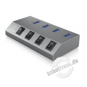 ICY BOX, IB-HUB1405, USB 3.0 Hub, 4x USB Type-A Anschlüsse, An-/Ausschalter für jeden Port 4 Port USB 3.0 Hub und Ladegerät, silber