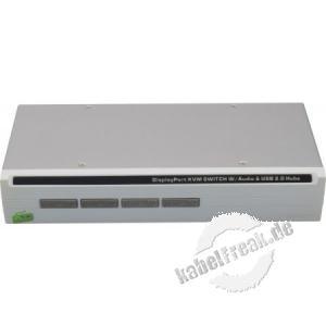 Dexlan KVM Switch, 4-Port DisplayPort und USB 2.0, Metallgehäuse KVM Switch mit kombinierten Oktopuskabeln
