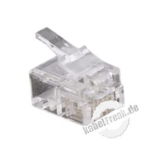 Modularstecker für Flachkabel, ungeschirmt, 6P4C (RJ11), VE: 10