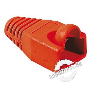 Knickschutztülle für Modularstecker RJ45, Rundkabel, rot, VPE 10 Stück Knickschutztülle mit Rastnasenschutz