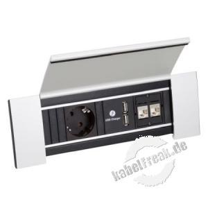Bachmann Power Frame 1 x Schutzkontakt, 1 x USB Charger, 2 x Cat6 kompakte Lösung für leicht zugänglichen Energie- und Datenanschluss
