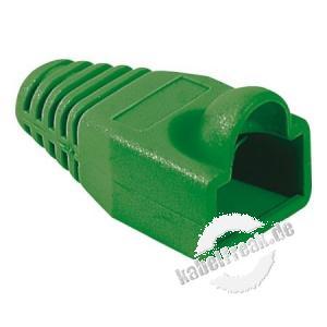 Knickschutztülle für Modularstecker RJ45, Rundkabel, grün, VPE 10 Stück Knickschutztülle mit Rastnasenschutz