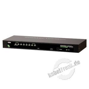 ATEN KVM Switch, USB und PS/2, 8-fach, 19' Mehrere Pcs mit USB- oder PS/2-Anschluss werden von 1 Arbeitsplatz ( USB oder PS/2 Tastatur, Monitor, USB oder PS/2 Maus) gesteuert