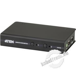 ATEN USB DVI KVM Switch mit Audio CS72D, 2-fach, Desktop, mit Anschlusskabeln 2 PCs mit USB-Anschluss werden von 1 Arbeitsplatz (USB Tastatur, DVI Monitor, USB Maus, Lautsprecher) gesteuert