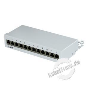 Mini Patchfeld, Cat.6, 12 Port, Desktop, hellgrau RAL 7035 Kompaktes Patchfeld für kleine Installationen