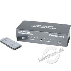 Dexlan HDMI 4K / USB Switch 4 Eingänge / 2 Ausgänge Mit diesem KVM-Switch können Sie eine 4K2K-Videoquelle mit ultrahoher Auflösung von den 4 HDMI-Eingängen eines Digital Signage-Bildschirms senden