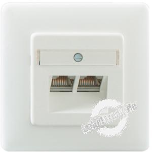 Rutenbeck Datendose UAE-Cat.6/ClassE-8/8 Up rw, 2-fach, reinweiß RAL 9010 Zum Anschluss von 2 PCs, auch für Unterputz- und Hohlraumdosen geeignet