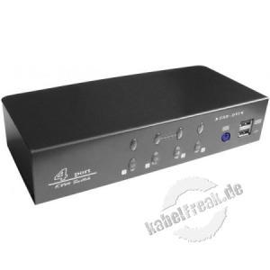 KVM Switch, 4 Ports, DVI, USB, Audio Zum Steuern von vier Computern mit Maus-, Tastatur-, Audio- und Monitorsignal