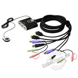 ATEN HDMI USB Kompakt KVM Switch CS692 mit Audio, 2-fach 2 PCs werden von 1 Arbeitsplatz (USB Tastatur, HDMI Monitor, USB Maus, Lautsprecher, Mikrofon, USB 2.0 Peripheriegeräte) gesteuert