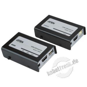 ATEN VE803 HDMI-Verlängerung Over Kat. 5e/6 für Bild-und Tonübertragung + USB (60m) Übertragung von 1080i bis 60 m - maximale Bildqualität: HDTV Auflösung bis 1080p (1920 x 1080) und WUXGA (1920 x 1200) - Unterst