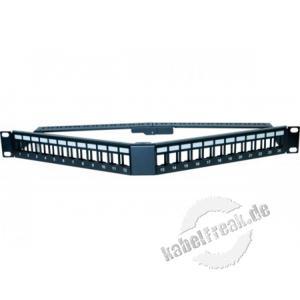 Modulträger für 24 Keystone-Anschlussbuchsen, V-Format, 19', 1 HE im speziellen V-Format für bessere Bestückung und Platzersparnis