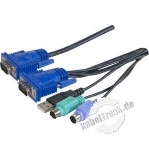 KVM Kombikabel  USB, PS/2, 1,8m