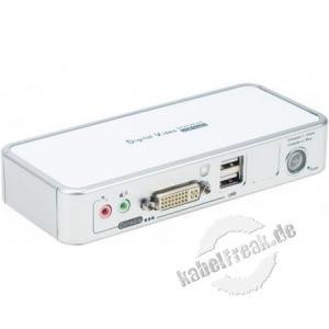 2-Port KVM Switch DVI mit USB 2.0, Audio und Mikrofon Umschalten zwischen zwei Rechnern mittels Schalter, Hotkey oder Software