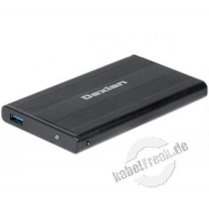 Dexlan SATA II Aluminium Gehäuse 2,5', USB 3.0 Gehäuse mit USB 3.0 Anschluss zum Einbau von 2,5' SATA Festplatten