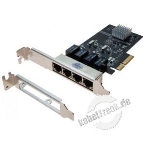 Dexlan PCIe 4-Port Gigabit Netzwerkkarte Netzwerkkarte mit 4 Port Switch