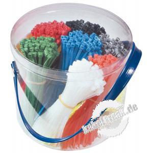 Kabelbinder Sortiment, 1.000 Stück farbig sortiert, (1.000 Stück 98 x 2,5 mm) Sortiment von farbig gemixten Kabelbindern in einer Box
