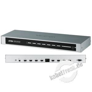 ATEN HDMI-Switch mit Fernbedienung, 8-fach, HDMI 1.3b Schaltet das HDMI Signal von 8 Bildquellen auf 1 Monitor / TV-Gerät