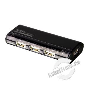 ATEN USB 2.0 Magnetic Hub, 4 Port Magnetischer USB Hub mit separatem Port für USB Sticks