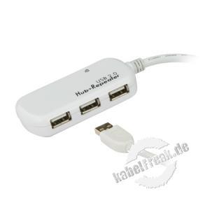 ATEN Aktives USB 2.0 Verlängerungskabel UE2120H, 12,0 m, mit 4-Port USB Hub Zum Verlängern eines USB Anschlusskabels auf 12 m