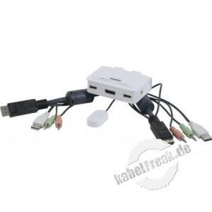 2-Port Kabel KVM Switch Displayport mit USB 2.0, Audio und Mikrofon Umschalten zwischen zwei Rechnern mittels Software und Kabelfernbedienung