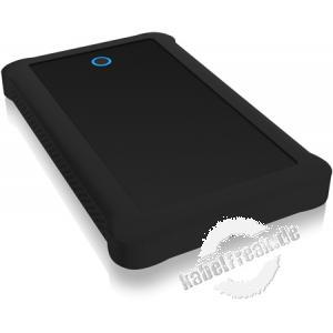 ICY BOX SATA-Gehäuse IB-233U3-B, 2,5', USB 3.0, schwarz Externes Gehäuse für 2,5' (6,35 cm) SATA HDD/SSD mit USB 3.0 Anschluss und Silikon-Schutzhülle