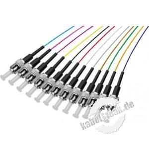 LWL Faserpigtails, farbig, 12 x Stecker, OS2 Mono-Mode, ST/UPC, 1,0 m 12 Faserpigtails in verschiedenen Farben